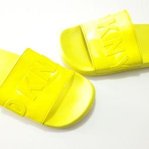 DKNY neon yellow zinna slides size 9 AUS